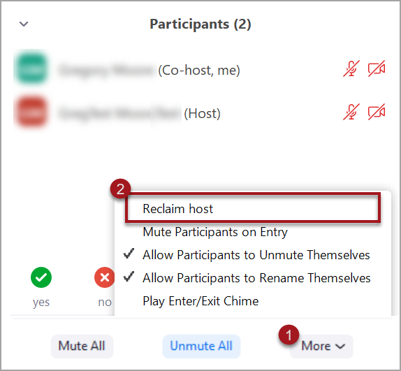 Reclaim Host by clicking the More button and selecting Reclaim Host from the menu