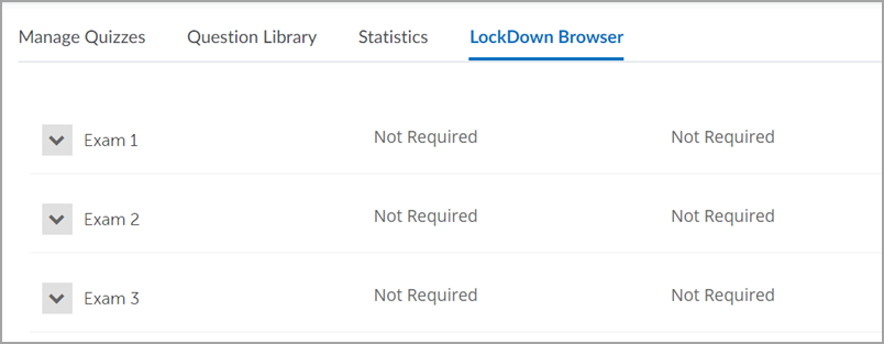 The Respondus Lockdown Browser Dashboard list of quizzes
