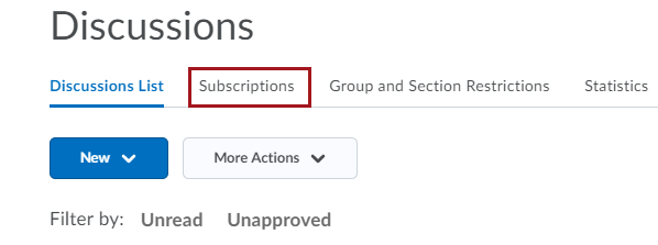 Subscription Tab Selection